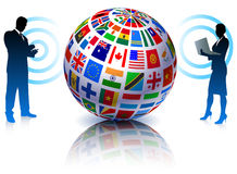 Business Couple with Flags Globe Stock Photography