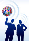 Business Couple with Flags Globe Stock Photo
