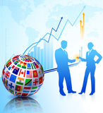 Business Couple with Flags Globe Royalty Free Stock Photos