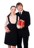 Business couple with the gift Stock Photography