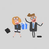 Business couple with gift. 3D. 