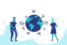 Business couple global social media connection online chat communication concept man woman international relationships royalty free illustration