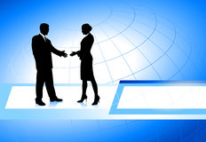 Business Couple on Globe Background Stock Photo