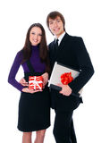 Business couple are happy with gifts Royalty Free Stock Photos