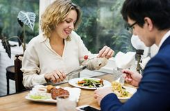 Free Business Couple Having Dinner Together Stock Photos - 113193493
