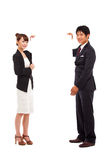 Business couple holding a add banner. Business couple holding a add banner isolated on white background Stock Photos