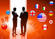 Business Couple on  internet flag. Buttons background Royalty Free Stock Photo