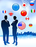 Business Couple on  internet flag. Buttons background Stock Photography