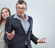 Business couple. Isolated. Royalty Free Stock Images