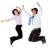 Business couple jumping Royalty Free Stock Images