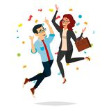 Business Couple Jumping Vector. Man And Woman. Entrepreneurship, Accomplishment. Best Worker, Achiever. Modern Office. Business Couple Jumping Vector. Man And Royalty Free Stock Images