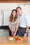 Business couple in kitchen Stock Image