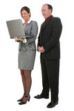 Business Couple With Laptop Computer  Over White Background Royalty Free Stock Photo