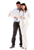 Business couple with a laptop Royalty Free Stock Photos