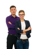 Business couple looking at camera Stock Images