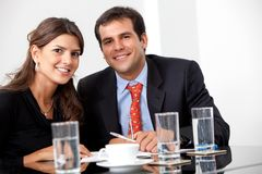 Business couple in a meeting Royalty Free Stock Photo