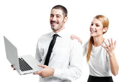 Business Couple with a Modern Laptop Stock Photography