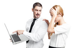 Business Couple with a Modern Laptop Stock Photos
