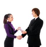 Business couple with the money Royalty Free Stock Photography