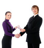 Business couple with the money are happy Stock Photography