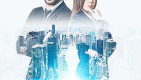 Business couple in a morning city Stock Photography