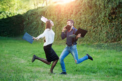 Business couple outdoor Royalty Free Stock Image
