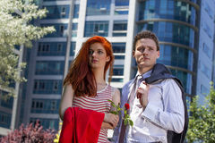 Business couple. Outside standing together Royalty Free Stock Image