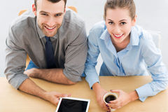 Business couple. Business people working in office stock photos