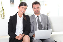 Business couple preparing presentation Stock Photo