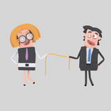 Business couple pulling a rope Royalty Free Stock Photos