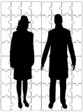 Business couple with puzzle background Stock Photos