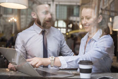 Business couple at restaurant Stock Photography