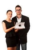 Business couple searching ideas on tablet computer. Team work co Royalty Free Stock Photography