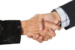 Business couple shaking hands Royalty Free Stock Image
