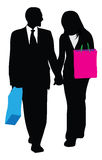 Business couple shopping illustration Royalty Free Stock Image