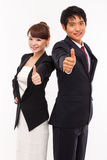 Business couple showing thumb. Royalty Free Stock Photography