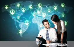 Business couple with social media connection Stock Photo