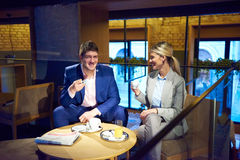 Business couple take drink after work Royalty Free Stock Image