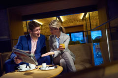 Business couple take drink after work Royalty Free Stock Photo
