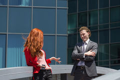 Business couple. Talking during break from work Stock Photography