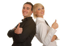 Business couple with thumbs up Stock Photography