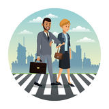 business couple walk street urban background Stock Images