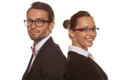 Business couple wearing glasses Royalty Free Stock Image