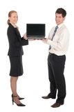 Business couple withlaptop Royalty Free Stock Image