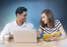 Business couple working on laptop Stock Image