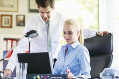 Business couple Working On Laptop Royalty Free Stock Photography