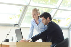 Business couple Working On Laptop Royalty Free Stock Images