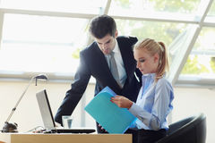 Business couple Working On Laptop Royalty Free Stock Image