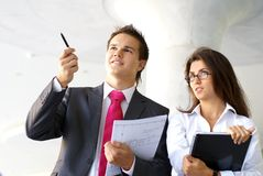 Business couple working outdoors Stock Photography