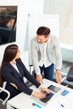 Business couple working together on project at modern office Royalty Free Stock Image